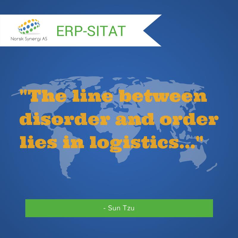 """Grafikk med sitat om logistikk av Sun Tzu """"The line between disorder and order lies in logistics…"""""""